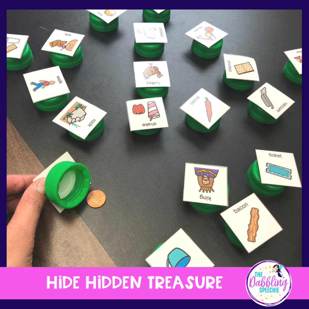 DIY speech therapy materials using bottle caps to make a hidden treasure game for articulation therapy