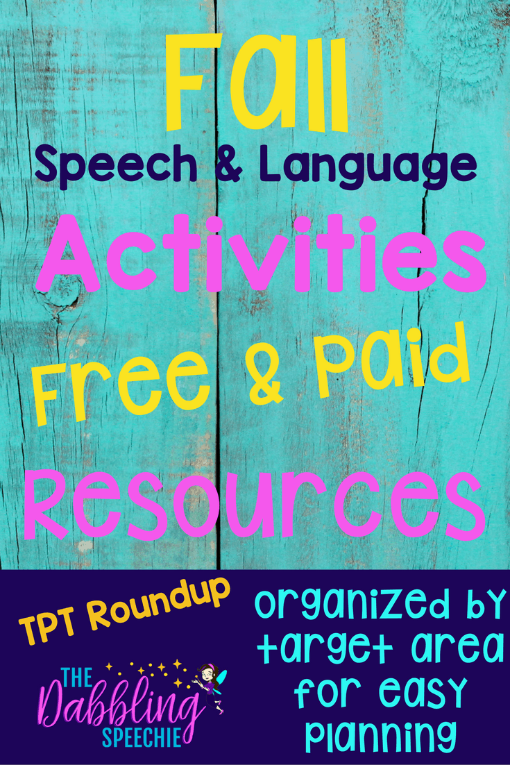 Fall Speech And Language Activities: TPT ROUND-UP - thedabblingspeechie