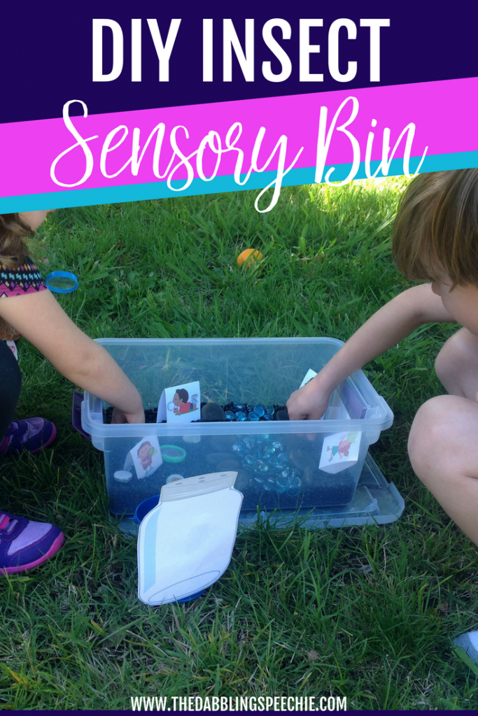 insect sensory bin for speech therapy - Free printables! Bug speech therapy activities