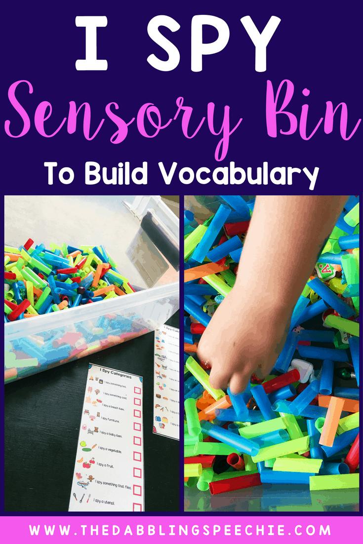 """I Spy"" Sensory Bin To Build Language"