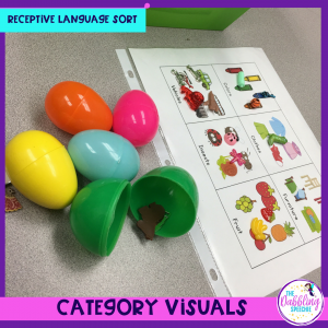 easter egg language activity with a free category visuals printable. This activity gets the kids up and moving while building new vocabulary.