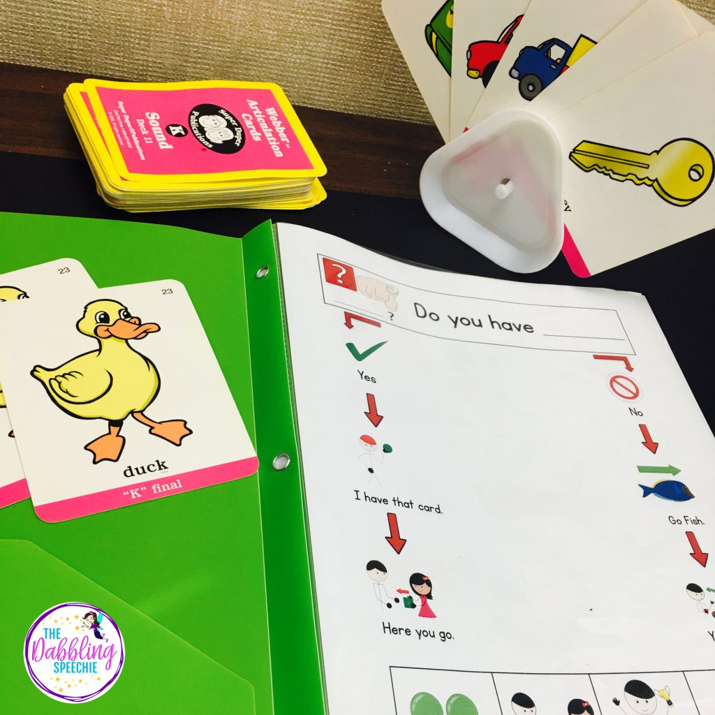go fish visual for speech therapy - help teach the rules of go fish with visual supports