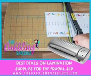best deals on lamination supplies for the frugal SLP. Speech therapy office supplies that SLPs need for their caseload to stay organized and run therapy groups with ease. #slpeeps #schoolslp #speechtherapy #organizedslp