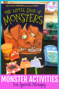monster activities for speech therapy to use for articulation, language and social skills