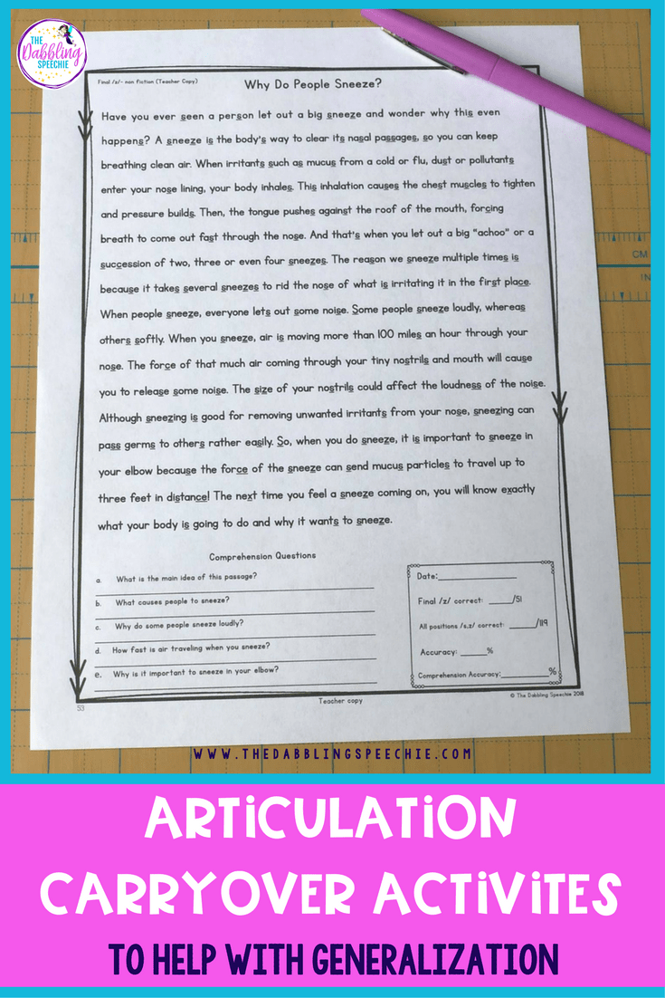 Articulation Reading Passages & Activities To Help With Generalization