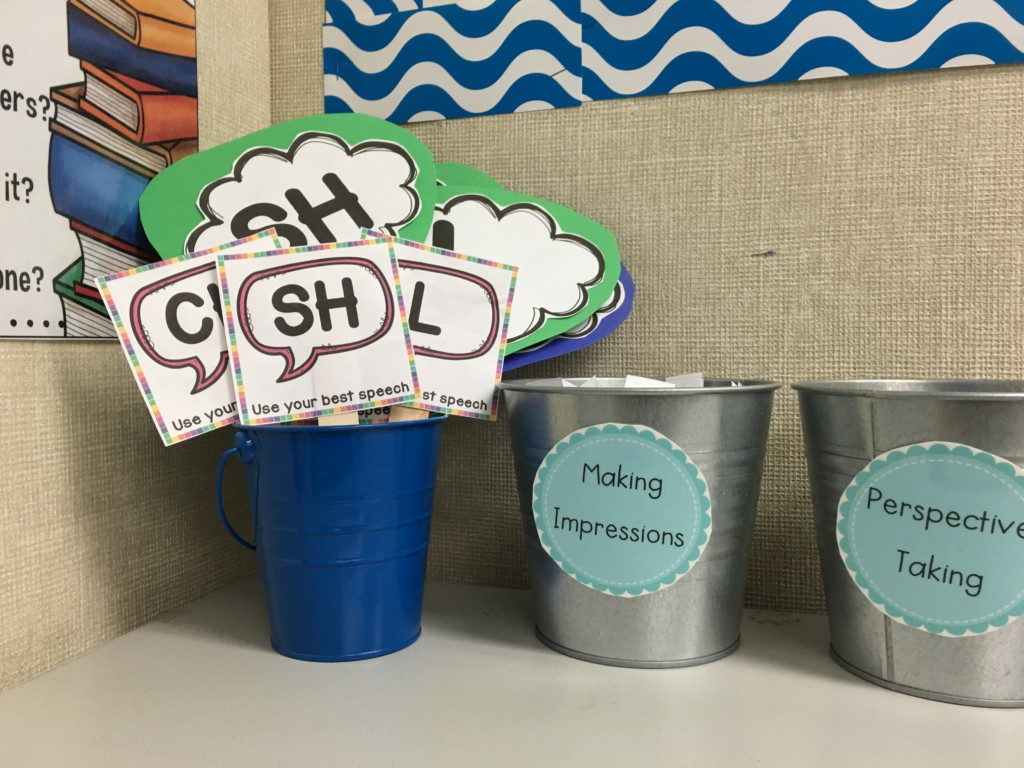 Use visual reminders while working on articulation reading passages and conversational activities during articulation therapy