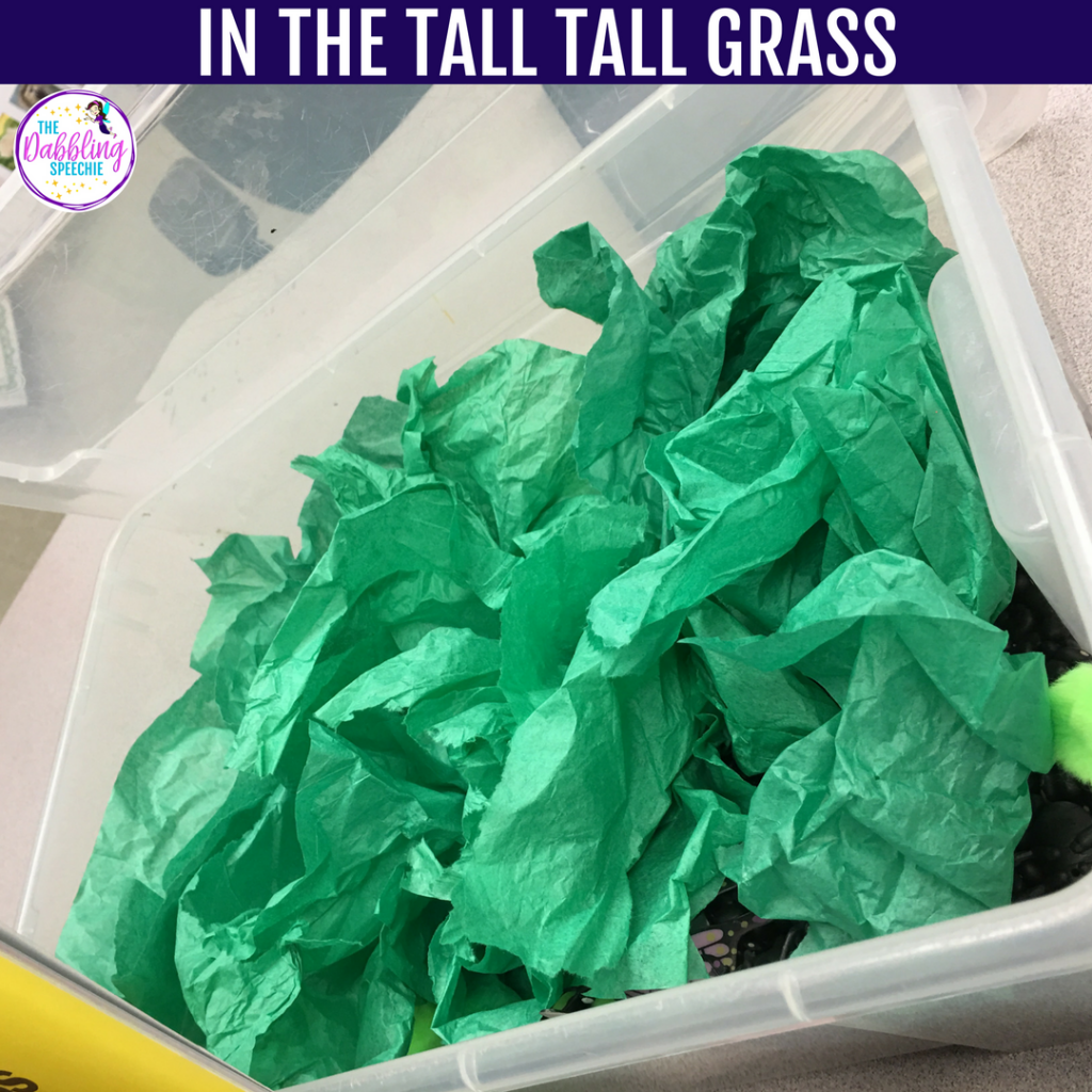 In The Tall Tall Grass Sensory Bin is easy to make with black beans, bugs and green tissue paper