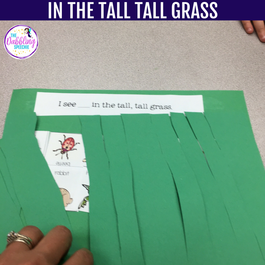 In The Tall Tall Grass Sensory Bin and craft idea for speech and language therapy.