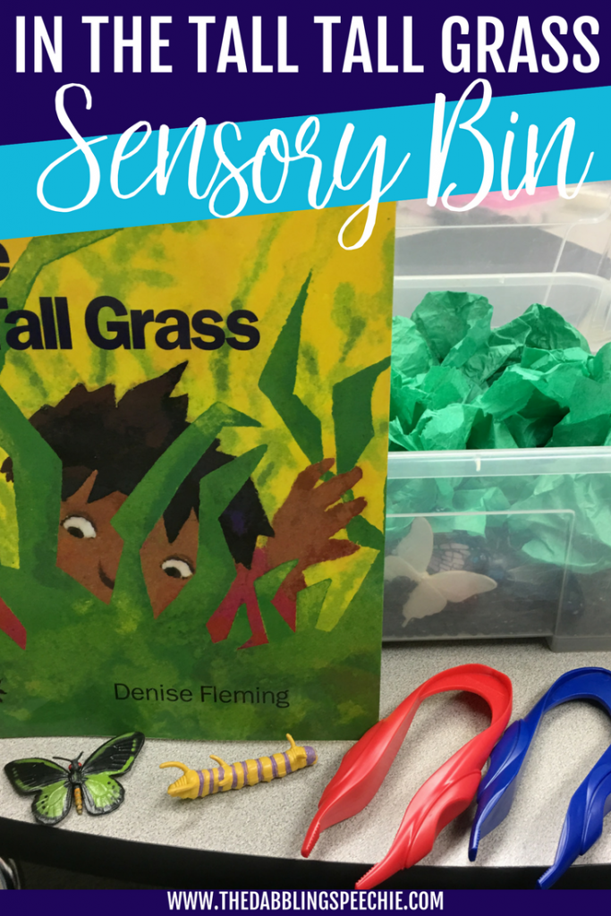 In The Tall Tall Grass Sensory Bin for speech therapy