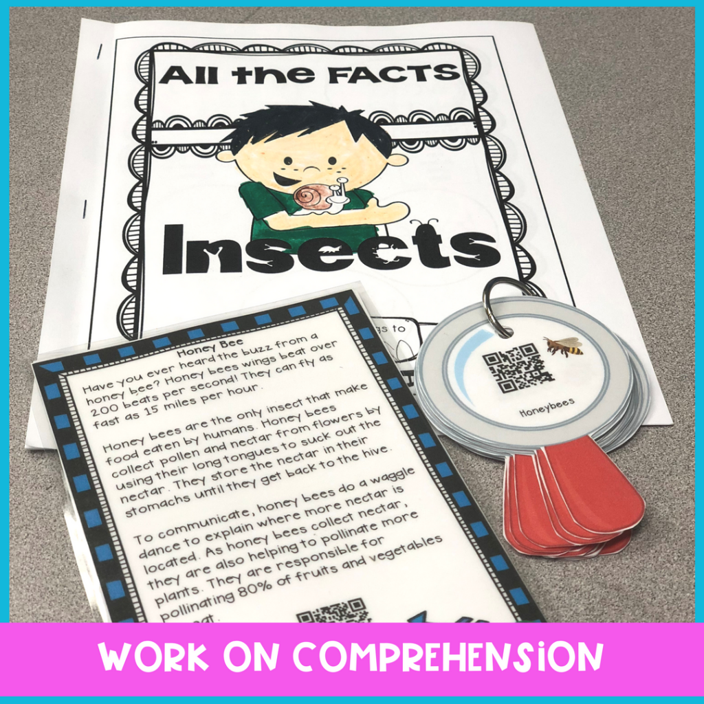 bee activities for elementary speech therapy to work on main idea, listening comprehension, defining vocabulary and sharing details. Perfect for common core and language therapy