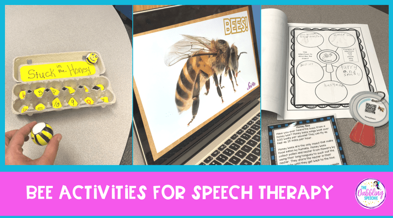 bee activities for elementary speech therapy to work on language, main idea, vocabulary, grammar, summarizing and listening comprehension