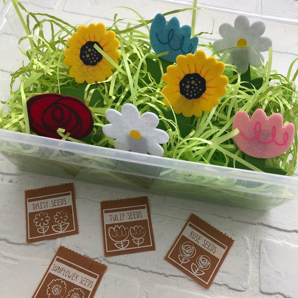 Spring Sensory Bins For Speech Therapy with flowers