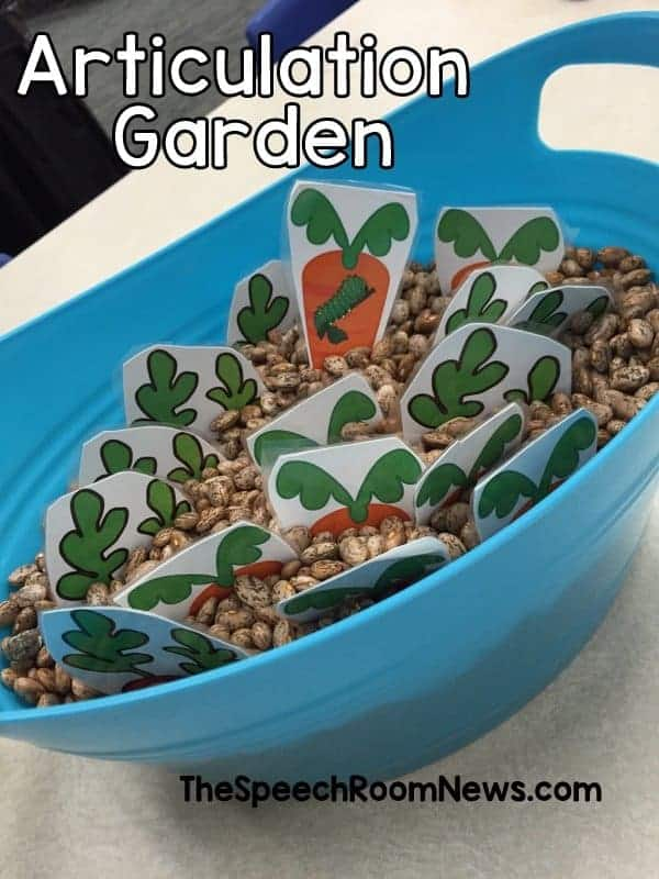spring sensory bins for speech therapy with a vegetable garden bin.