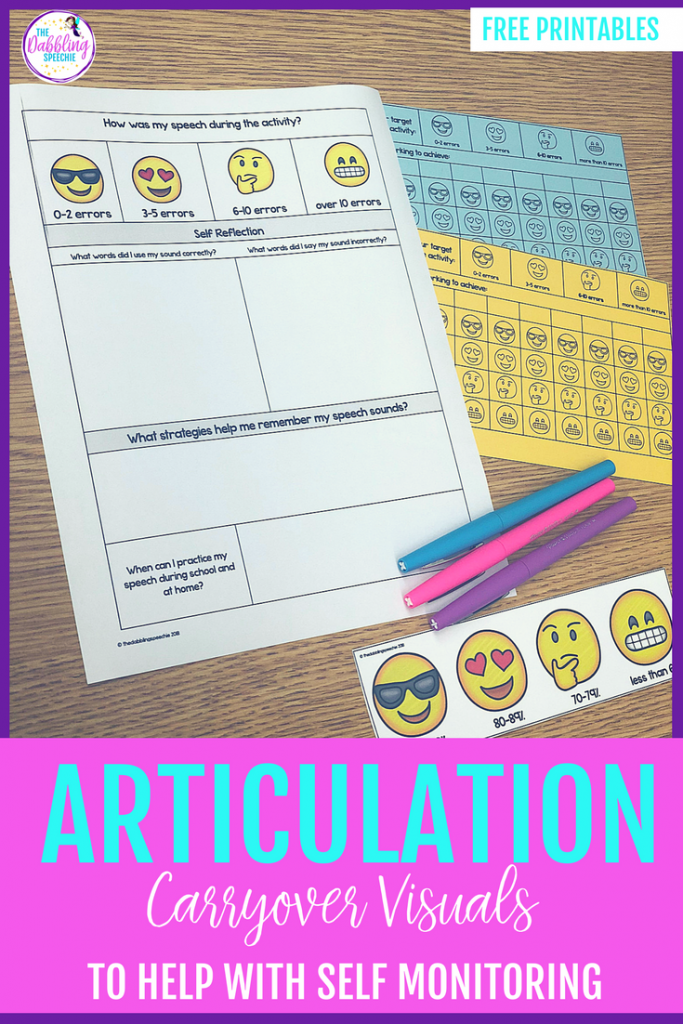 Articulation carryover visuals to help self monitoring skills in speech therapy. Great for articulation therapy to use with any articulation carryover activity
