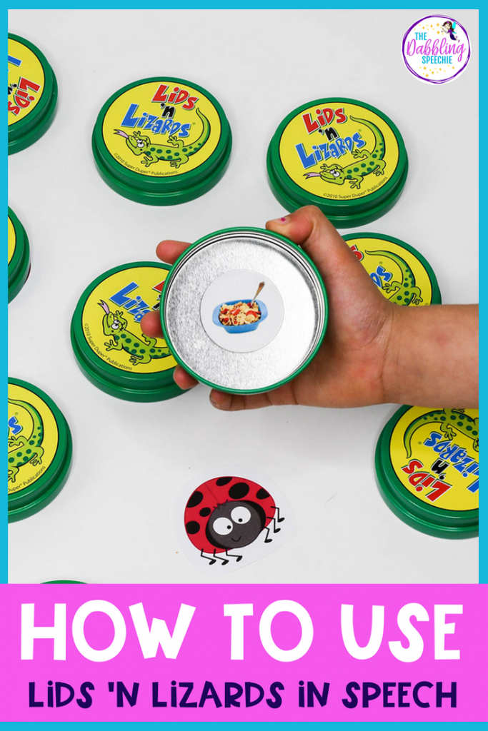 Lids 'N Lizards in speech therapy is a language game that can be adapted to use for a lot of different goals for speech therapy. Make speech therapy more engaging for your students while helping them meet their speech and language goals!