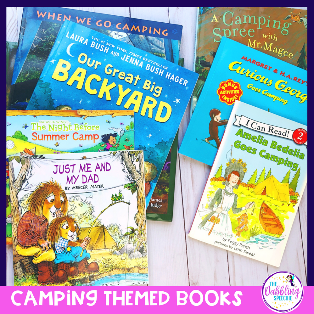 camping speech therapy activities to help SLPs plan lessons. Craft ideas for kids, camping book recommendations, speech therapy lesson plan ideas & materials to use. #slpeeps #schoolslp #speechtherapy #SLP2b #languagetherapy #speechpathology