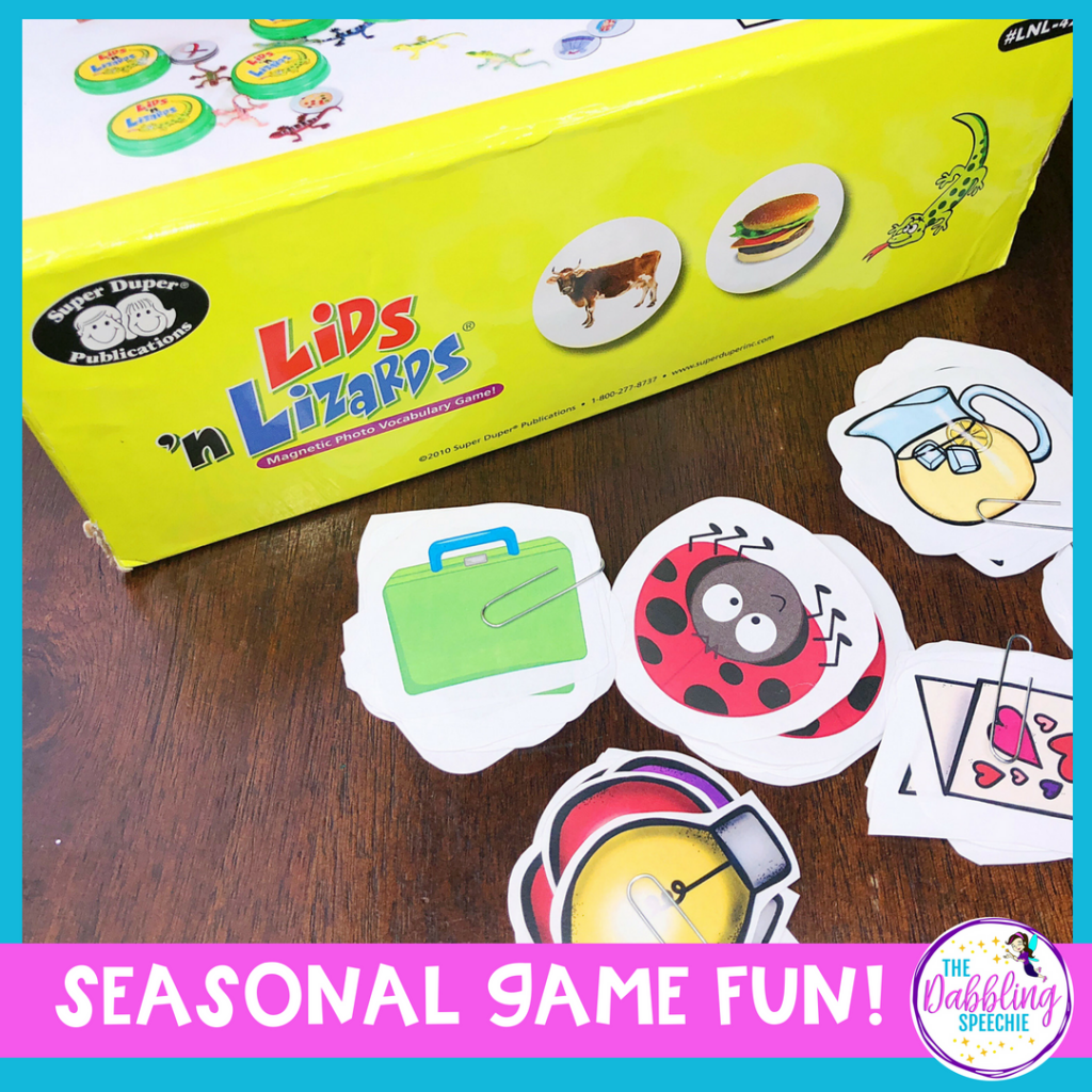 Lids 'N Lizards in speech therapy can be used for different seasons of the year with these FREE printables. Easy to prep and store for the busy SLP!!