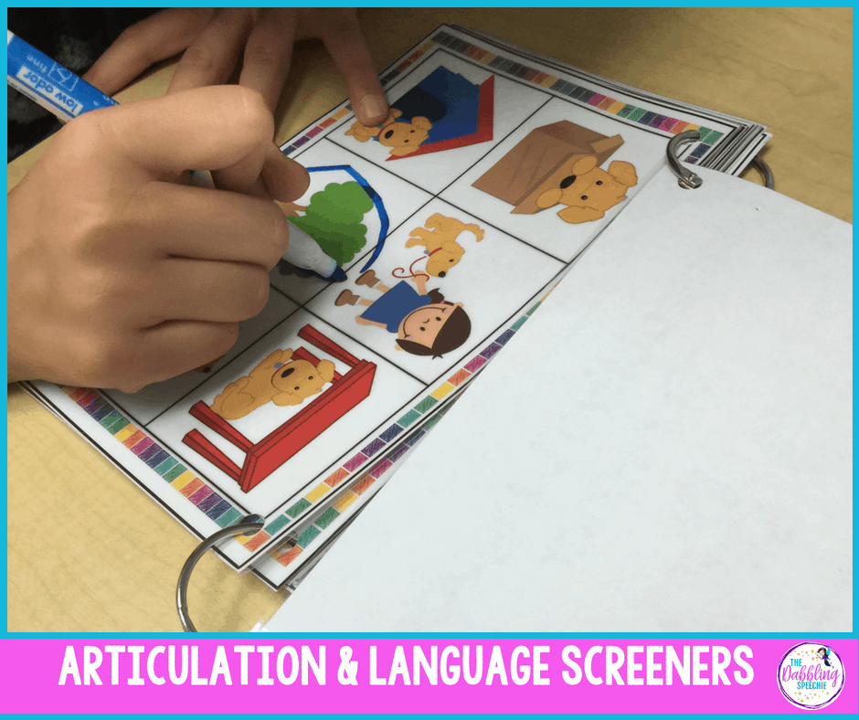 articulation and language screener to help with informally assessing student's communication skills. #slpeeps #schoolslp #speechtherapy