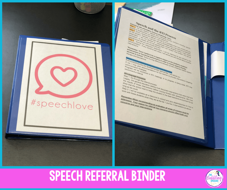 speech referral process for SLPs and tips for how to make a helpful binder.