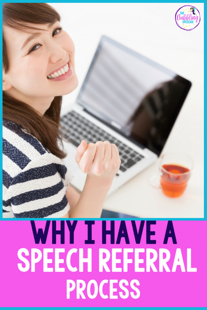 This blog post talks about why you need a speech referral process and tips for how SLPs can streamline their speech referral process. #slpeeps #schoolslp #speechtherapy #organizedslp