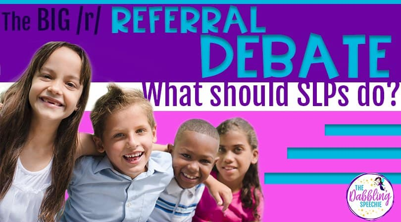When teachers and parents give you speech therapy referrals for R, it can be tough to decide if you should test or not. This blog post shares info from a survey completed by SLPs for the /r/ phoneme. #slpeeps #caseloadmanagement #speechtherapy #speechpathology #articulationdisorders