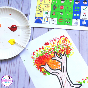 Fall Q-tip paint craft is a great craft to use for Fall speech and language activities to work on functional communication. #dabblingslp #craftyslp #fallcraftsforkids #speechtherapy
