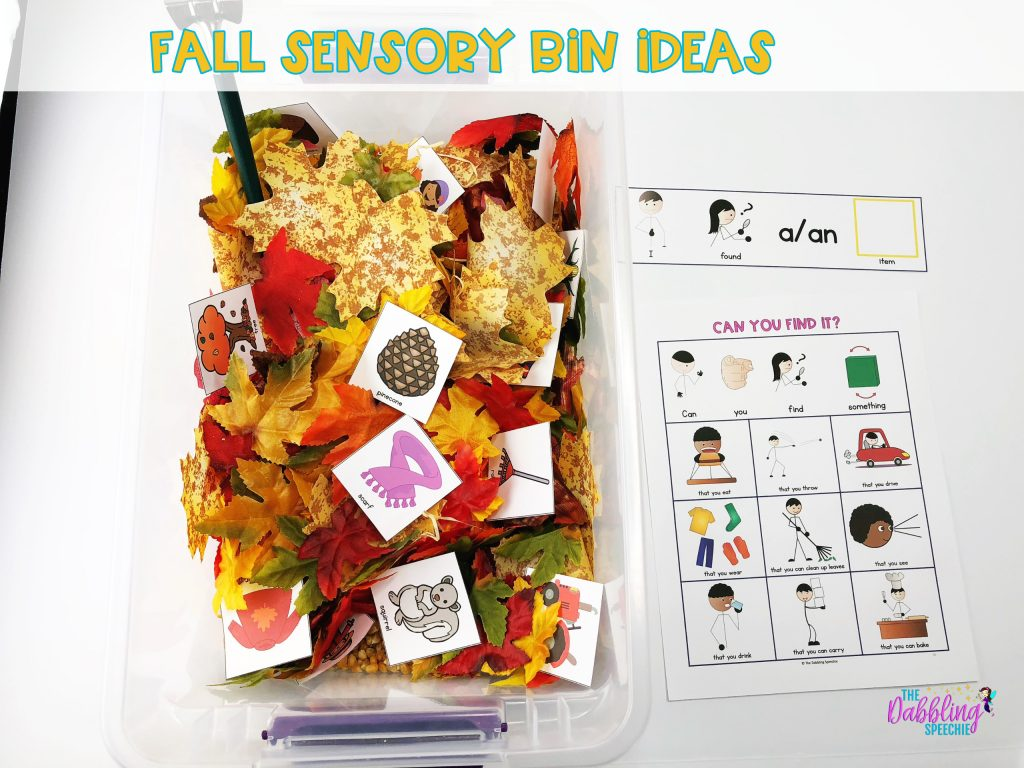 Fall sensory bin ideas for speech therapy. Build themed vocabulary using a sensory bin. #dabblingslp #slpeeps #fallsensorybin #slpsensorybin #sensorybin