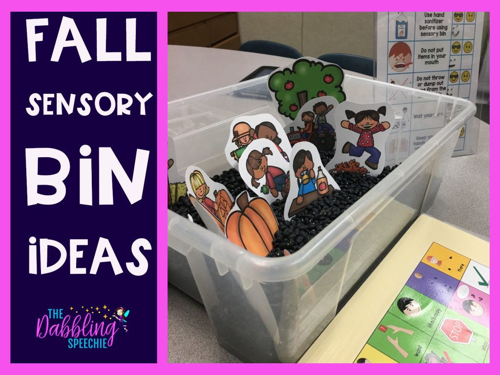 Fall sensory bin ideas for speech therapy. Easy sensory bin ideas to use in speech therapy. #dabblingslp #preschoolslp #fallspeechtherapy #speechtherapy