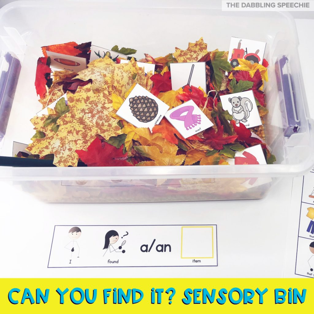 Fall sensory bins for kids to use in speech therapy. #slpeeps #slpsensorybin #sensorybins #fallspeechtherapy #dabblingslp