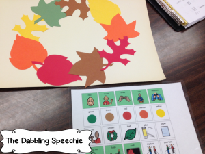 Fall die cut wreath for speech and language therapy to work on CORE vocabulary. Easy Fall speech and language activities to increase communication with your mod-severe students. #dabblingslp #sped #craftsforkids #slps #speechies
