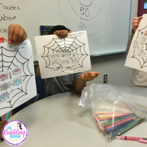 Use no prep spider activities for speech to reinforce students in mixed groups.