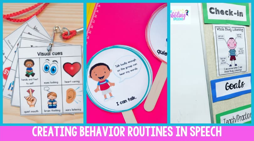 Create behavior routines using visual cues to support our students that struggle with processing language. #slpeeps #schoolslp #dabblingslp #slps #speechies #visualsupports #behaviormanagement