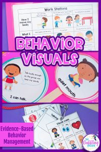 Create behavior routines using visual supports to help students with language impairments process the information. #slpeeps #schoolslp #dabblingslp #visualsupports #behaviormanagement #classroommanagement #visualcues #sped #spedteacher #autism