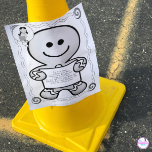 Teach body in the group to your students with social skill needs by going on a gingerbread man hunt. #dabblingslp #socialthinking #bodyinthegroup #socialskills #sped #speechtherapy