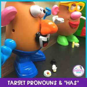 Dinky doodads in speech therapy can be used to teach pronouns using Mr. Potato Head