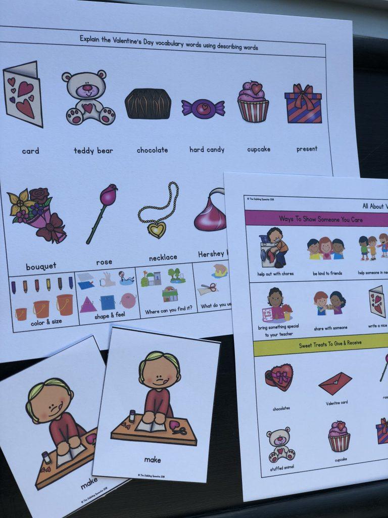 Valentine's Day activities for speech therapy - free printable! #slpeeps #schoolslp #slp #dabblingslp #speechtherapy #valentinesday