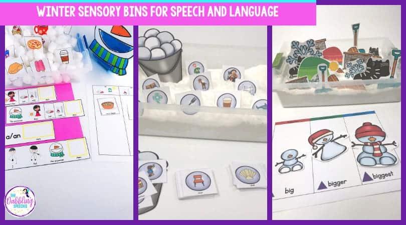 Sensory bins using winter vocabulary to work on speech and language skills. #slpeeps #schoolslp #slps #slpsensorybin #sensorybin #sensoryplay #preschool #preschoollanguage #languageactivities