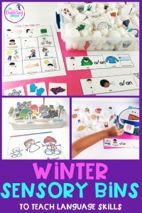 Sensory bins using winter vocabulary to work on speech and language skills. #slpeeps #schoolslp #slps #slpsensorybin #sensorybin #sensoryplay #preschool #preschoollanguage #languageactivities