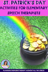 St. Patrick's Day speech therapy activities for the busy SLP, so you can plan effective therapy and still have time to eat lunch uninterrupted. #slpeeps #schoolslp #slps #cfyslp #speechtherapy #pediatricslp #speechpathology #eslteacher #sped #stpatricksday #iteachtoo #kindergarten #languagetherapy #pushintherapy #slpsontpt #craftsforspeech