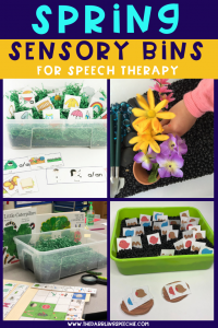 spring sensory bins for speech therapy to target articulation and language goals #slpeeps #schoolslp #speechies #sensorybin