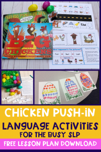 Chicken speech therapy activities for early elementary to help the busy SLP #slpeeps #schoolslp #speechies #slp #cfyslp #preschoolslp #speechtherapy #dabblingslp #ashaigers #pushintherapy
