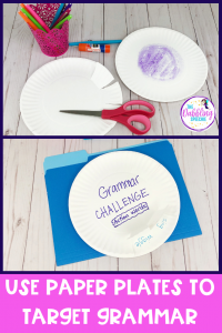 Use paper plates in your next speech therapy session to target all sorts of grammar goals. These grammar speech therapy activities are EBP aligned and kid approved! #slpeeps #schoolslp #speechies #ashaigers #dabblingslp #speechtherapy #sped #eslteacher #grammarintervention #pedslp #pediatricslp #grammar #slp #cfyslp #slpgraduate #instaslp #preschoolslp #elementaryslp #languagetherapy
