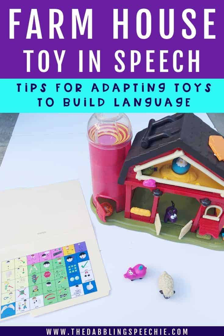 Using a toy farm in speech therapy can be a great material to help your students work on goals in a functional way. Check out how to use a toy farm in your next play-based speech therapy session!  #slpeeps #schoolslp #preschool #toysforspeech #preschoolslp #speechtherapy #speechies #slp #dabblingslp
