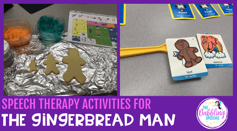 gingerbread man speech therapy activities that you can do to work on language and social skills. #slpeeps #schoolslp #speechtherapy #gingerbreadman #cfyslp #slp2b #languagetherapy #eslteacher #socialpragmatics