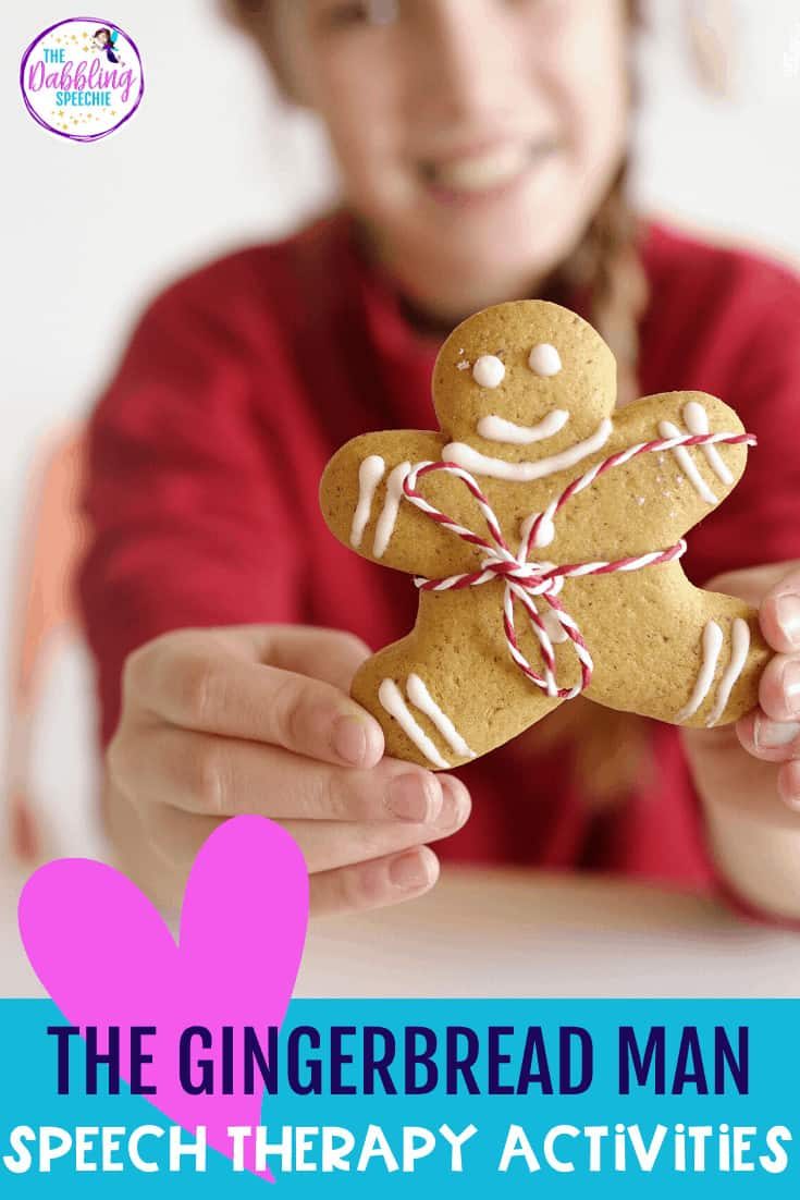 Use these gingerbread man speech therapy activities to target lots lots of language and social skills. #slpeeps #speechies #socialskills #speechtherapy #gingerbreadman #preschoolslp #preschool #languageintervention #slp2b #cfyslp