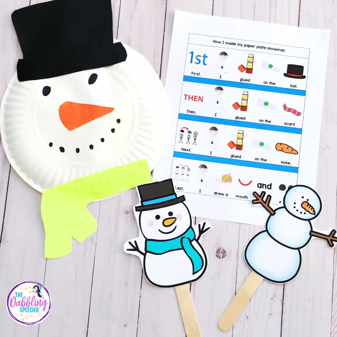 Have an engaging speech therapy activity using a paper plate snowman craft for your mod-severe classroom. This easy paper plate snowman craft comes with free printables to help your students sequence the steps for making their craft. T #slpeeps #sped #pushintherapy #dabblingslp #speechtherapy #speechlanguagepathology #craftsforkids #snowmancraft #speechies #schoolslp