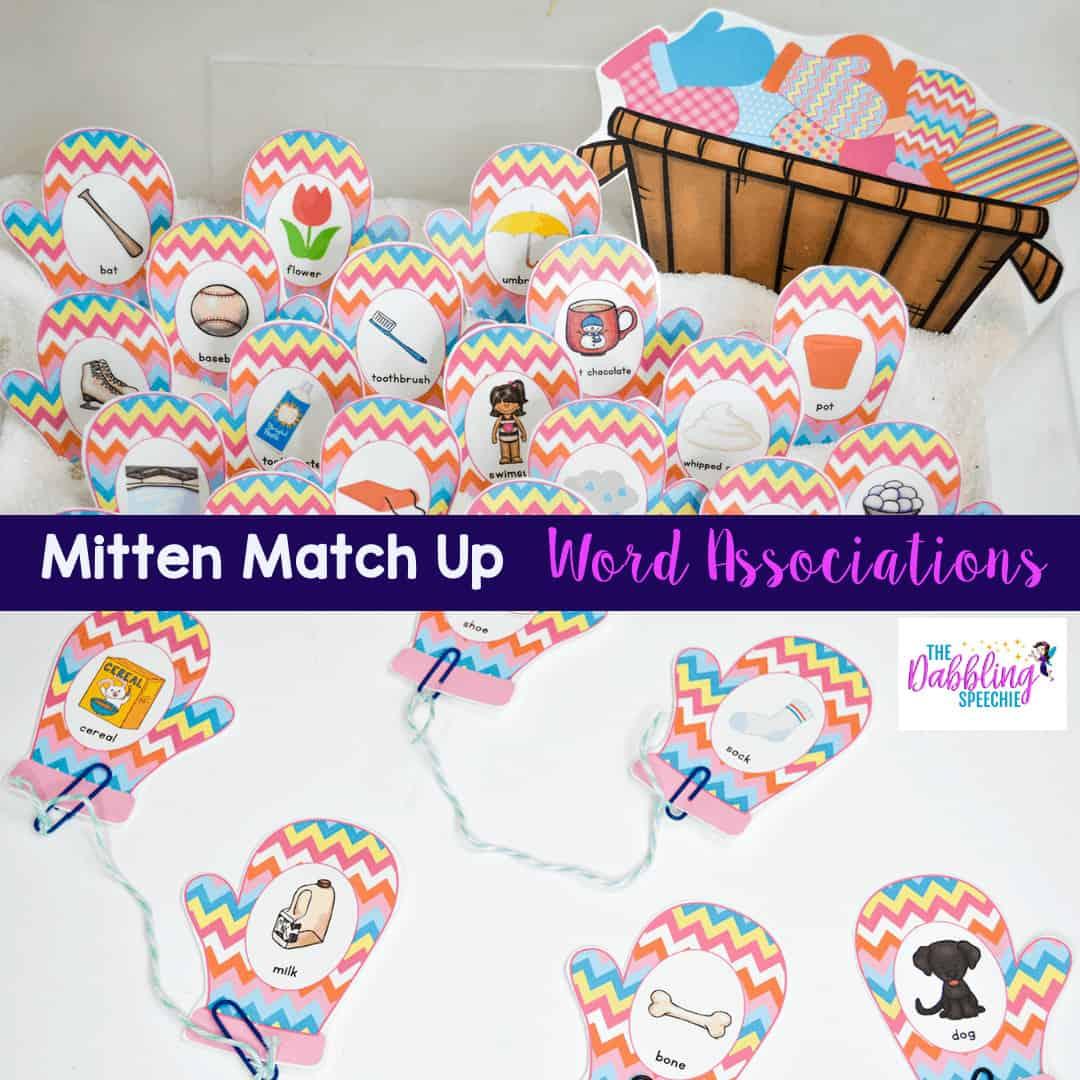 The Mitten Speech Therapy sensory bin for word associationas #slpsensorybin #sensorybin #preschool #preschoolslp