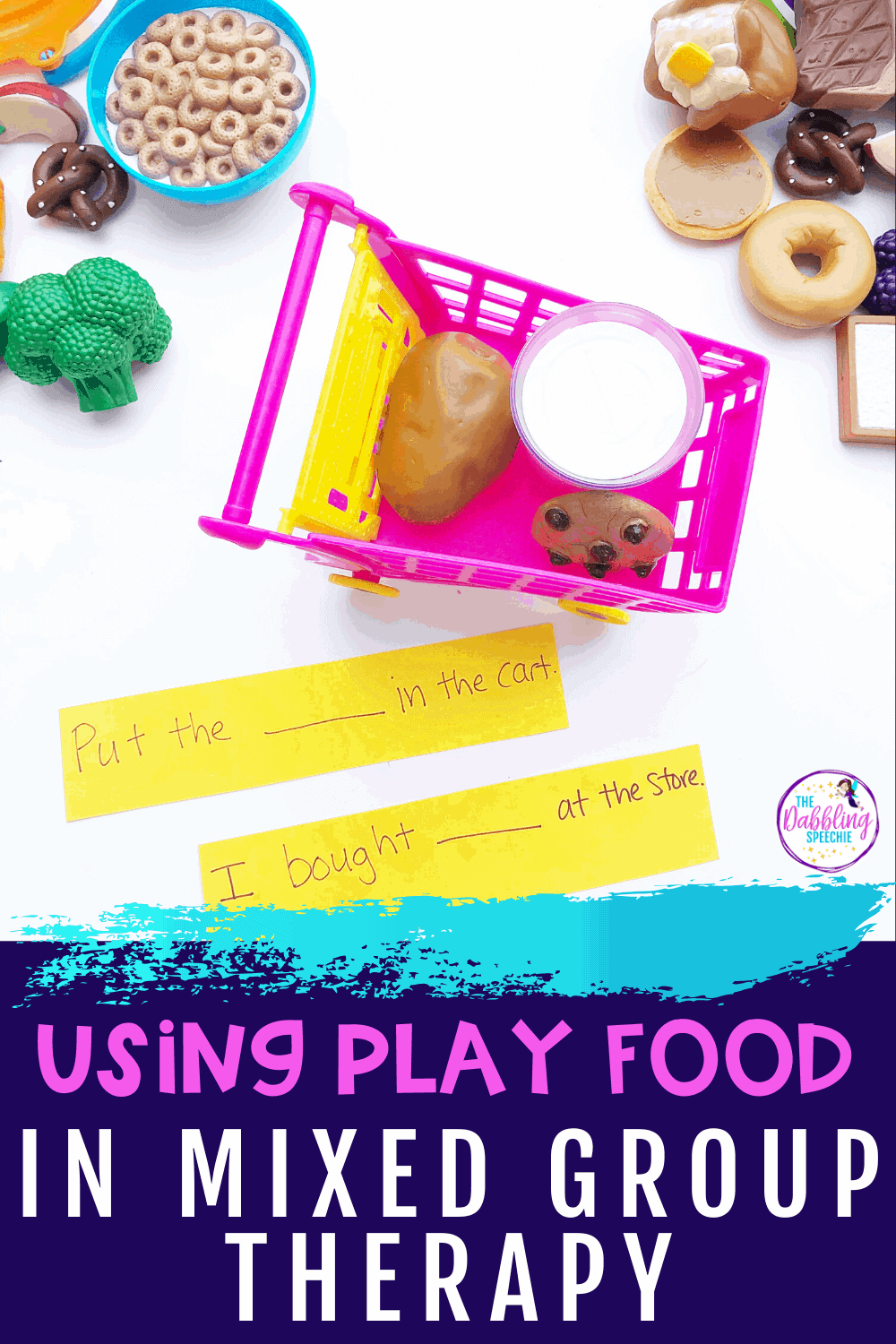 Play food is SUCH a big hit with young children. Why not give them space to play with toy food items while also working on essential speech and language skills? Play food sets make for a fantastic addition to your speech therapy materials. Kids love playing with toy food, and you can work on targets like sequencing, CORE vocabulary, AAC, grammar concepts, and more. Click through to read this post to learn 10 ways that play food can be used in speech therapy! #speechtherapy #SLPs #speechskills