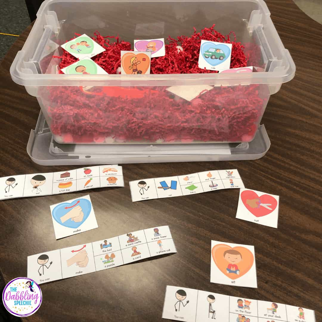 Use these Valentine's Day sensory bin ideas to increase engagement in your speech therapy sessions with your K-2 students. #slpsensorybin #sensorybin #sensoryplay #preschool #kindergarten #valentinesday #speechlanguagepathology #sped #speechtherapy #slpeeps #schoolslp #vocabulary #eslteacher