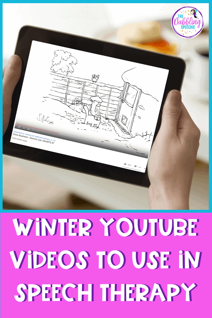 Winter speech therapy activity ideas using free YouTube videos in mixed groups. You can target speech and language goals using winter themed YouTube videos. Check out this post to see all the types of videos that you can utilize in your session. When you have limited time to plan, these YouTube winter videos will keep students engaged. #slpeeps #sped #socialpragmatics #cfyslp #iteachtoo #speechtherapy #speechlanguagepathology #pediatricslp